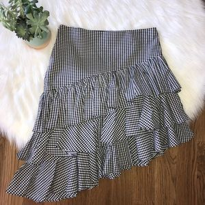 Intermix Black Gingham Tiered Skirt Size Small